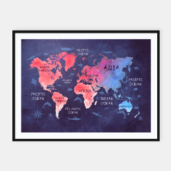 world map blue red Plakaty w ramie  obraz miniatury
