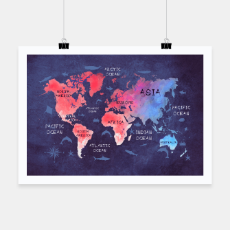 world map blue red Plakat obraz miniatury
