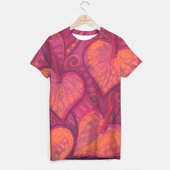 Thumbnail image of Hearty Flowers, funky floral art, pink orange & burgundy T-shirt, Live Heroes
