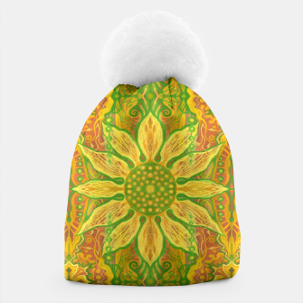 Thumbnail image of Sun Flower,  yellow, green and orange Beanie, Live Heroes