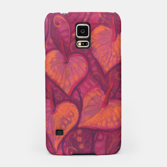 Thumbnail image of Hearty Flowers, funky floral art, pink orange & burgundy Samsung Case, Live Heroes