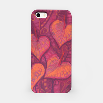 Thumbnail image of Hearty Flowers, funky floral art, pink orange & burgundy iPhone Case, Live Heroes