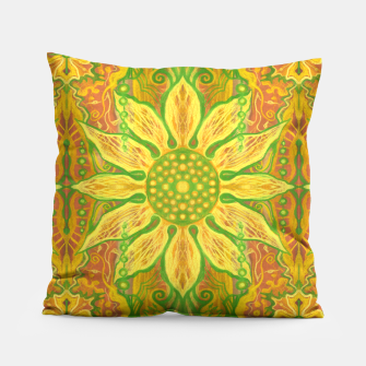 Thumbnail image of Sun Flower,  yellow, green and orange Pillow, Live Heroes