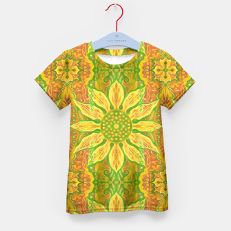 Thumbnail image of Sun Flower,  yellow, green and orange Kid's T-shirt, Live Heroes