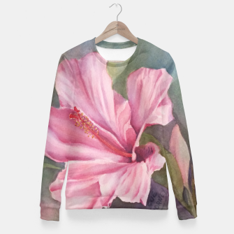 Thumbnail image of TROPICAL PINK HIBISCUS Fitted Waist Sweater, Live Heroes