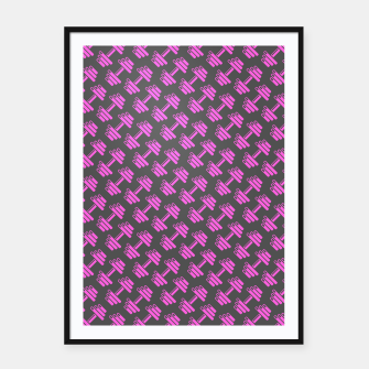 Thumbnail image of Dumbbellicious PINK GREY Framed poster, Live Heroes