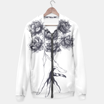 Thumbnail image of Hand with lotuses Hoodie, Live Heroes