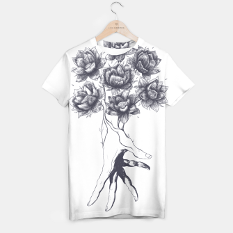 Thumbnail image of Hand with lotuses T-shirt, Live Heroes