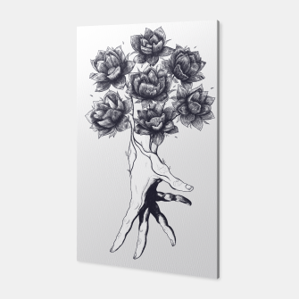 Thumbnail image of Hand with lotuses Canvas, Live Heroes