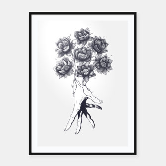Thumbnail image of Hand with lotuses Framed poster, Live Heroes