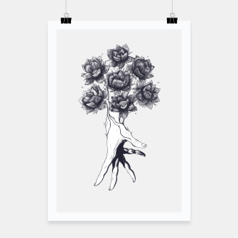 Thumbnail image of Hand with lotuses Poster, Live Heroes