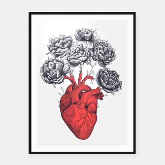 Thumbnail image of Heart with peonies Framed poster, Live Heroes
