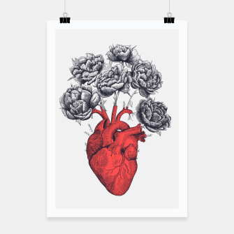 Thumbnail image of Heart with peonies Poster, Live Heroes