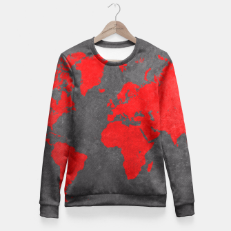 world map red black Bluza taliowana obraz miniatury