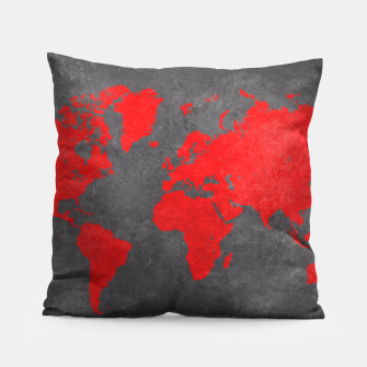 world map red black Poduszka obraz miniatury