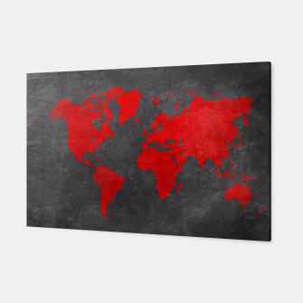 world map red black Canvas obraz miniatury