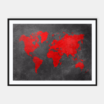 world map red black Plakaty w ramie  obraz miniatury