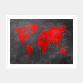 Thumbnail image of world map red black Plakaty w ramie , Live Heroes