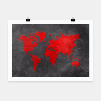 world map red black Plakat obraz miniatury