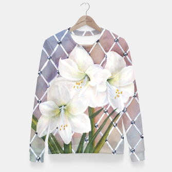 Thumbnail image of STUNNING WHITE AMARYLLIS BOUQUET Fitted Waist Sweater, Live Heroes