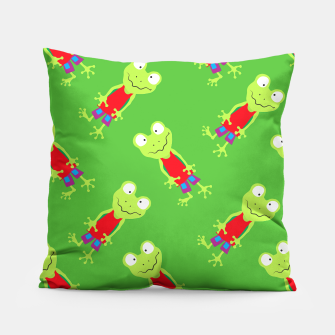 Thumbnail image of squinting Frog-Pattern Pillow, Live Heroes
