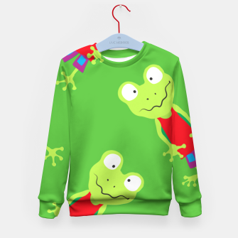 Thumbnail image of squinting Frog-Pattern Kid's Sweater, Live Heroes