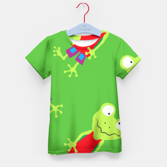 Thumbnail image of squinting Frog-Pattern Kid's T-shirt, Live Heroes