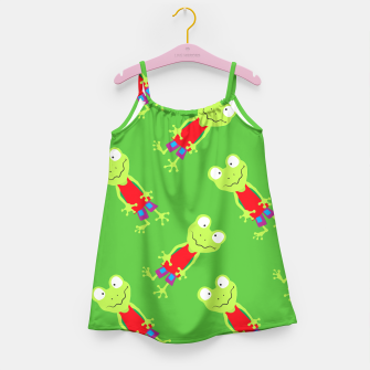 Thumbnail image of squinting Frog-Pattern Girl's Dress, Live Heroes