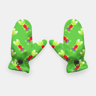 Thumbnail image of squinting Frog-Pattern Gloves, Live Heroes