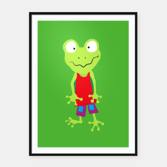 Thumbnail image of squinting Frog Framed poster, Live Heroes