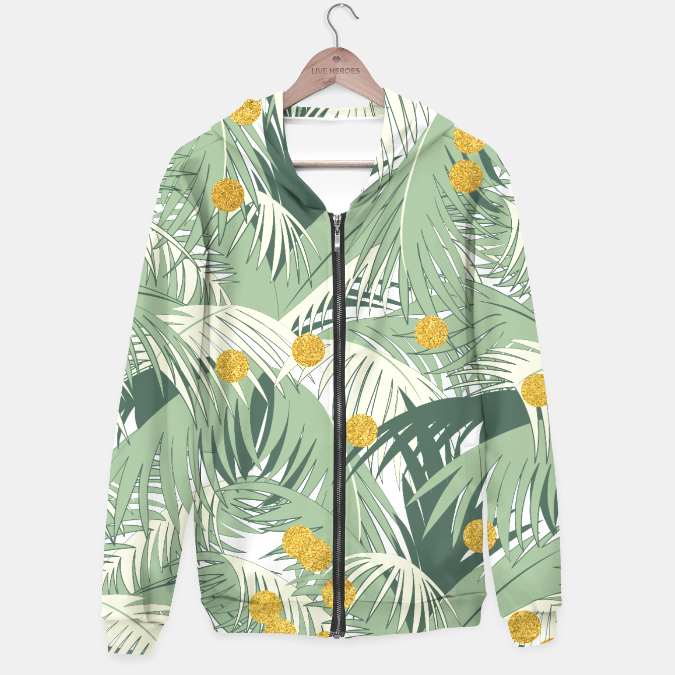 Image of Palm and gold Hoodie - Live Heroes