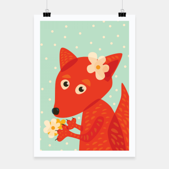 Thumbnail image of Cute Fox And Flowers Poster, Live Heroes