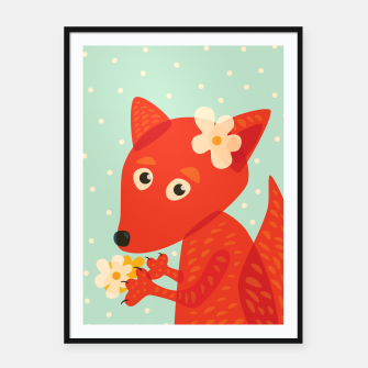 Thumbnail image of Cute Fox And Flowers Framed poster, Live Heroes