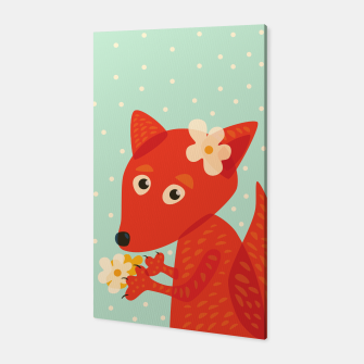 Thumbnail image of Cute Fox And Flowers Canvas, Live Heroes
