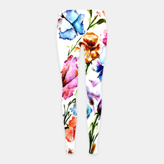 Thumbnail image of GARDEN OF BUTTERFLIES AND FLOWERS Girl's Leggings, Live Heroes