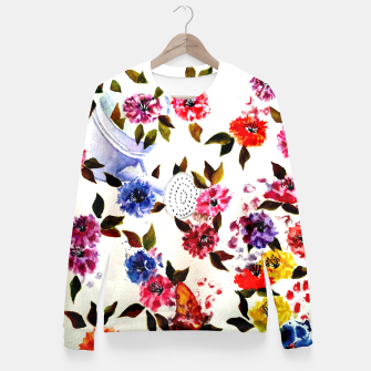 Thumbnail image of WATER CAN SPILLING COLORFUL FLOWERS Fitted Waist Sweater, Live Heroes