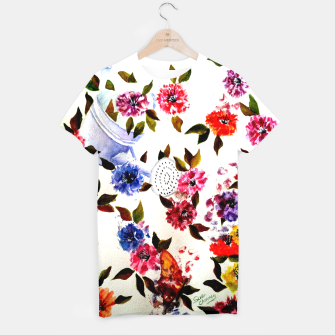 Thumbnail image of WATER CAN SPILLING COLORFUL FLOWERS T-shirt, Live Heroes
