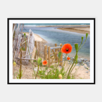 Thumbnail image of Scenic Sea View Wild Flowers Nature Scene Framed poster, Live Heroes