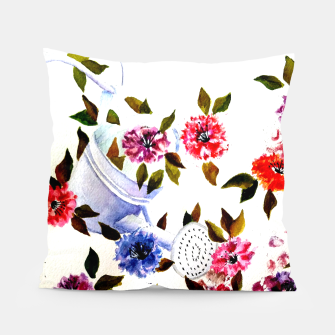 Thumbnail image of WATER CAN SPILLING COLORFUL FLOWERS Pillow, Live Heroes