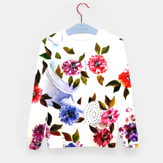 Thumbnail image of WATER CAN SPILLING COLORFUL FLOWERS Kid's Sweater, Live Heroes