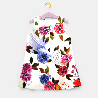 Thumbnail image of WATER CAN SPILLING COLORFUL FLOWERS Girl's Summer Dress, Live Heroes
