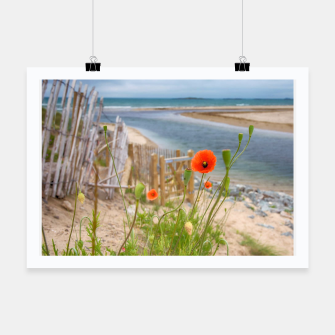 Thumbnail image of Scenic Sea View Wild Flowers Nature Scene Poster, Live Heroes