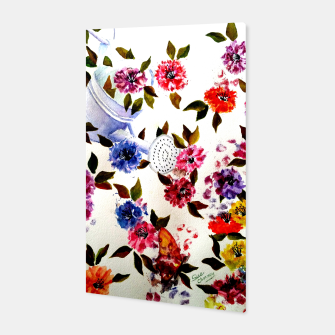 Thumbnail image of WATER CAN SPILLING COLORFUL FLOWERS Canvas, Live Heroes