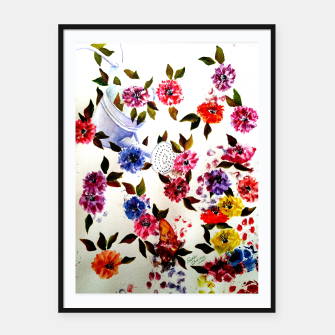 Thumbnail image of WATER CAN SPILLING COLORFUL FLOWERS Framed poster, Live Heroes