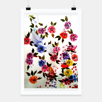 Thumbnail image of WATER CAN SPILLING COLORFUL FLOWERS Poster, Live Heroes