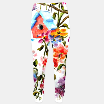 Thumbnail image of RED BIRDHOUSE AMID FLOWERS AND BUTTERFLIES Sweatpants, Live Heroes