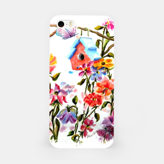 Thumbnail image of RED BIRDHOUSE AMID FLOWERS AND BUTTERFLIES iPhone Case, Live Heroes