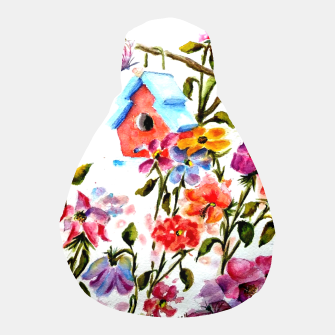 Thumbnail image of RED BIRDHOUSE AMID FLOWERS AND BUTTERFLIES Pouf, Live Heroes