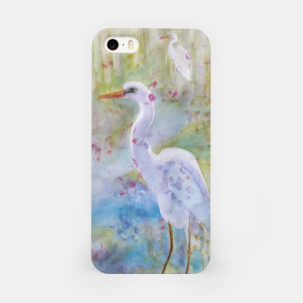 Thumbnail image of WHITE EGRET IN A COLORFUL POND iPhone Case, Live Heroes