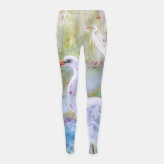 Thumbnail image of WHITE EGRET IN A COLORFUL POND Girl's Leggings, Live Heroes